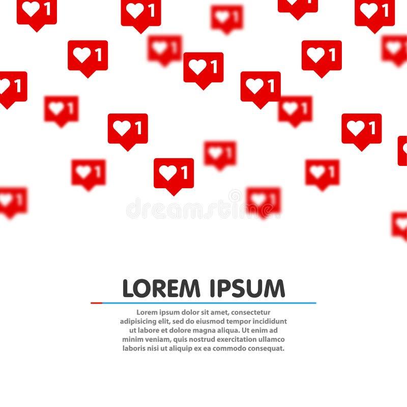 Como o vith fundo do vetor dos ícones do coração Os botões vermelhos da Web do coração das redes do Social no fundo branco para o ilustração royalty free