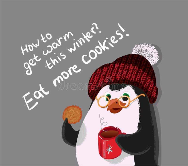 Como obter morno este inverno, coma mais cookies, ilustração do vetor do pinguim ilustração do vetor