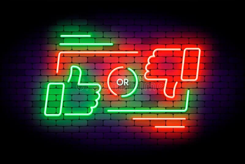 Como ou do desagrado ilustração de néon no fundo escuro ilustração do vetor