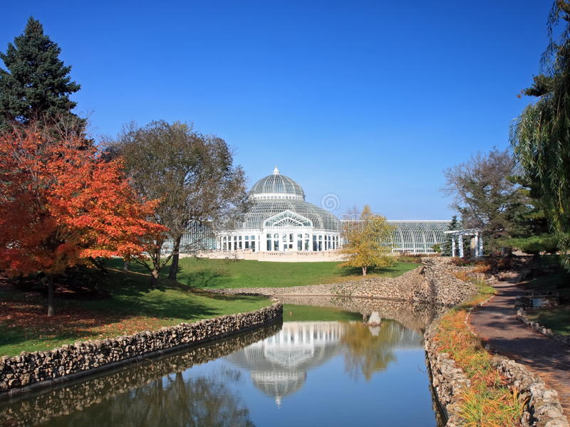 Como park conservatory with reflection royalty free stock images