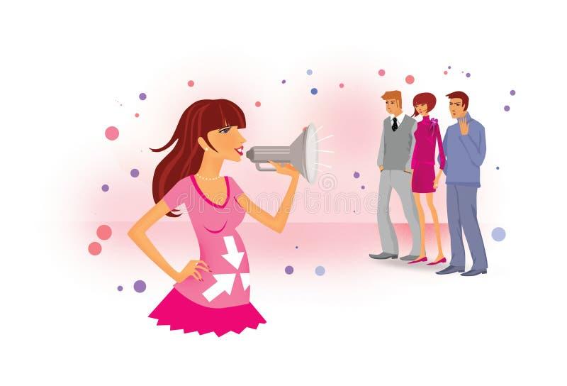 Como relatar a gravidez aos empregados e aos amigos Uma menina grávida em gritos cor-de-rosa de um vestido em um megafone Dois ho ilustração stock