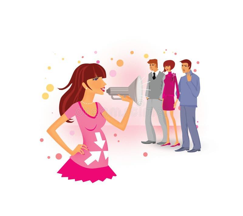 Como relatar a gravidez aos empregados e aos amigos Uma menina grávida em gritos cor-de-rosa de um vestido em um megafone Dois ho ilustração royalty free