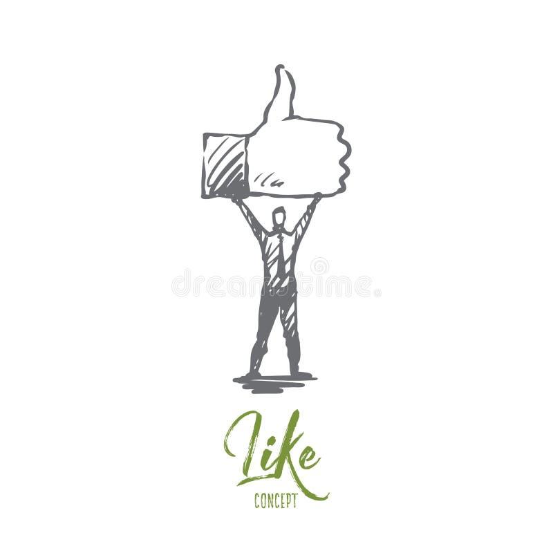 Como, símbolo, bom, rede, conceito do dedo Vetor isolado tirado mão ilustração do vetor