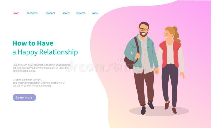 Como tenha relacionamentos felizes, acople a caminhada junto ilustração stock
