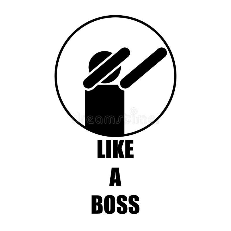 como un icono blanco del negro del jefe que aumenta las manos ilustración del vector