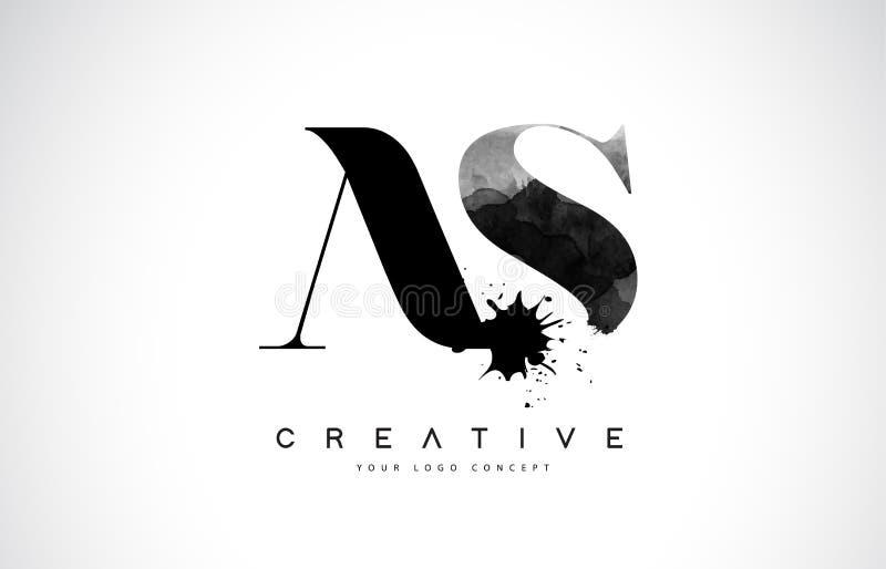 COMO una letra Logo Design de S con derramamiento negro del chapoteo de la acuarela de la tinta stock de ilustración