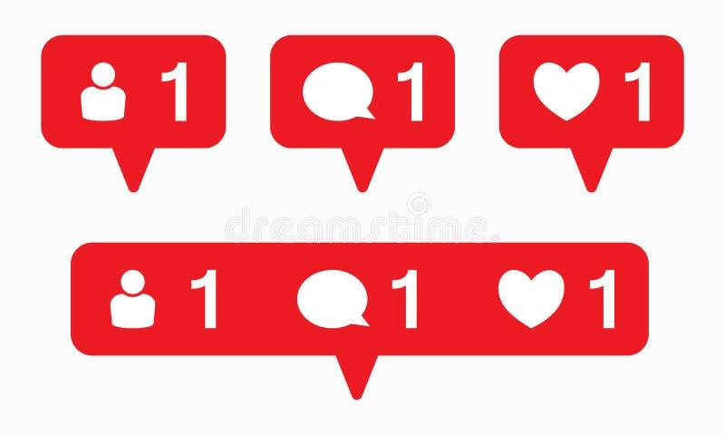 Como vector del icono Vector del icono del comentario Vector del icono del seguidor Medios iconos sociales de la notificación stock de ilustración