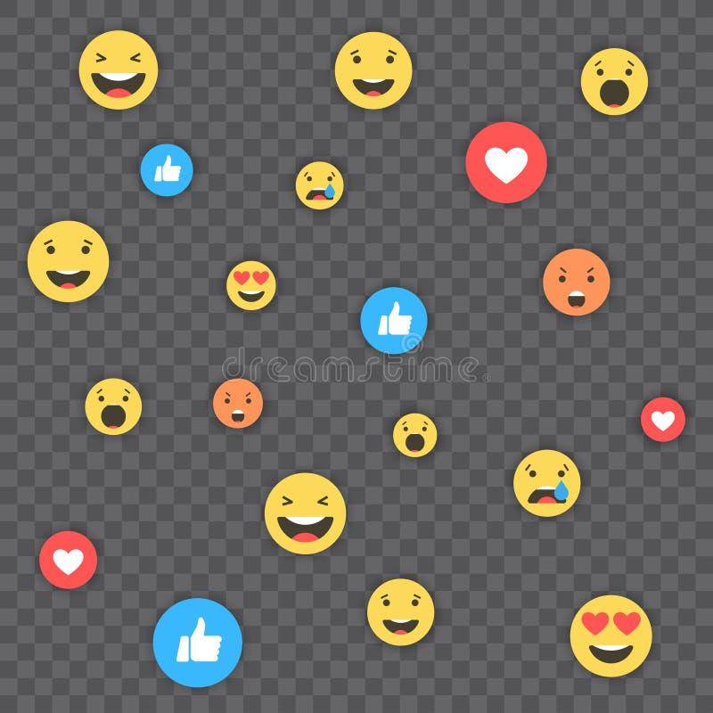 Como y del corazón y del emoji iconos Vídeo vivo de la corriente, charla, gustos, emoji Reacciones comprensivas de Emoji Redes so ilustración del vector