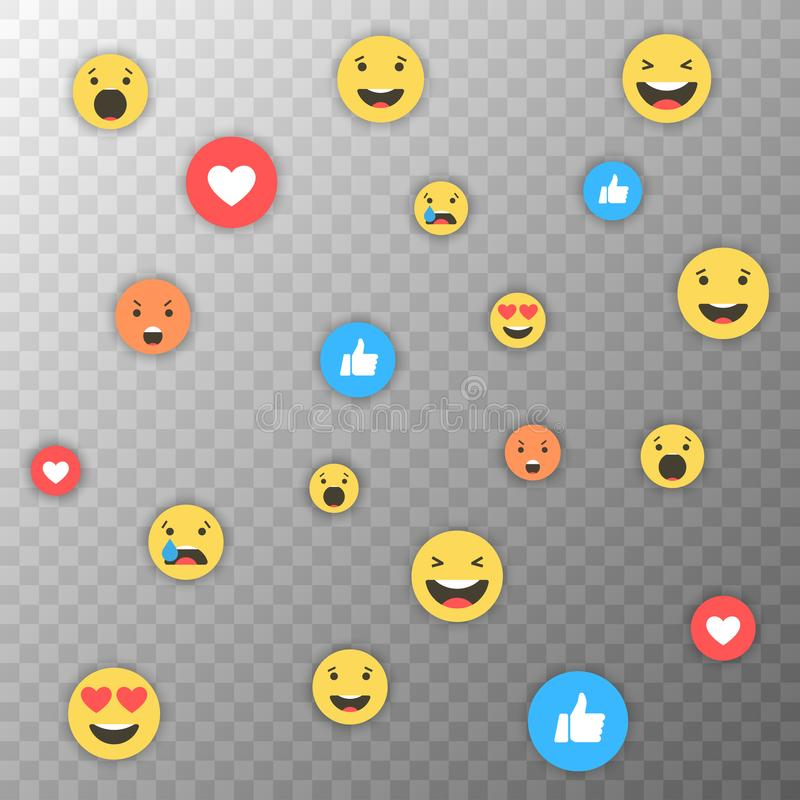 Como y del corazón y del emoji iconos Vídeo vivo de la corriente, charla, gustos, emoji Reacciones comprensivas de Emoji Redes so stock de ilustración