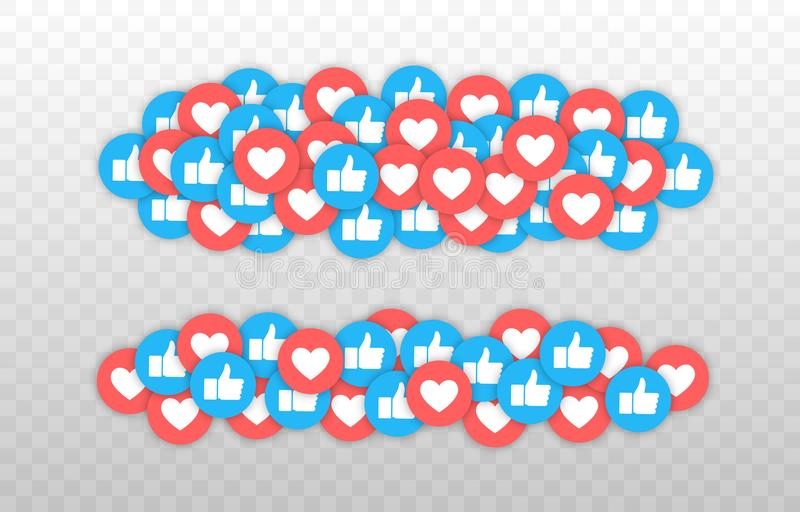 Como y del corazón icono Vídeo vivo de la corriente, charla, gustos Pulgar azul de las redes del Social para arriba como y botone ilustración del vector