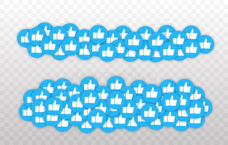Como y del corazón icono Vídeo vivo de la corriente, charla, gustos Pulgar azul de las redes del Social para arriba como y botone libre illustration