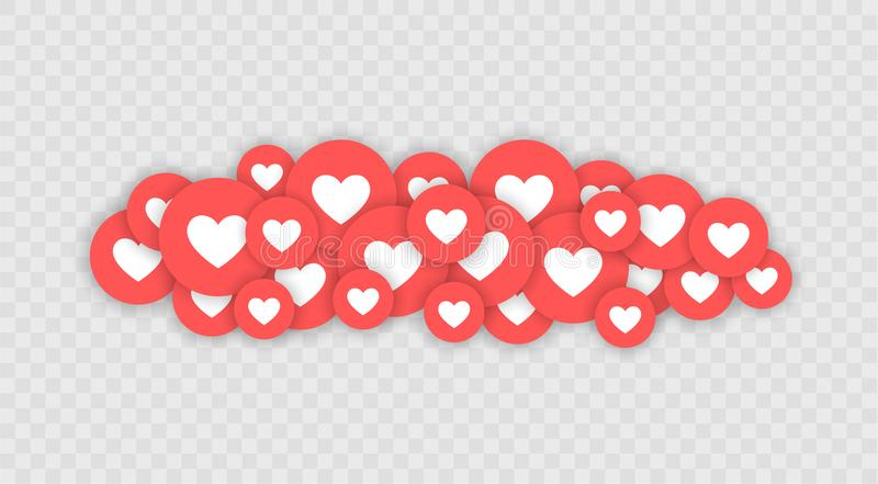 Como y del corazón icono Vídeo vivo de la corriente, charla, gustos Pulgar azul de las redes del Social para arriba como y botone stock de ilustración