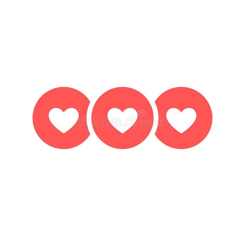 Como y del corazón icono Vídeo vivo de la corriente, charla, gustos Redes sociales como los botones rojos del web del corazón ais stock de ilustración