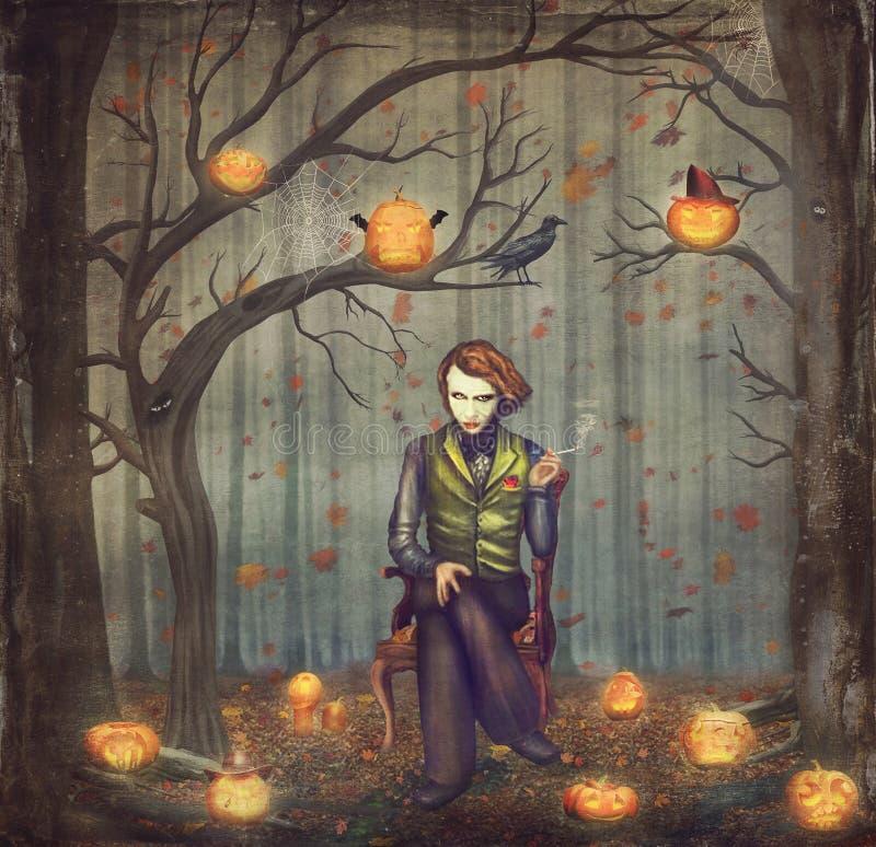 Comodín en un bosque del cuento de hadas entre árboles y las calabazas de Halloween ilustración del vector