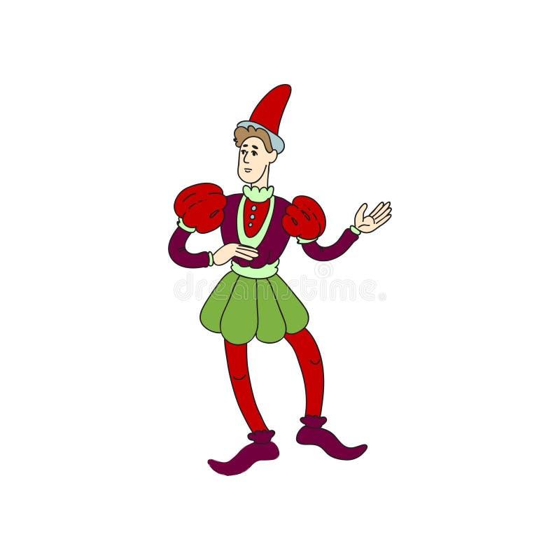 Comodín o bufón medieval del castillo en ropa colorida roja ilustración del vector