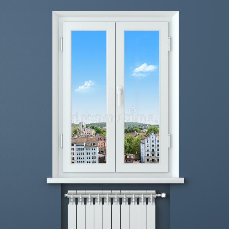 Comodidad en casa. Radiador del calentador en sitio stock de ilustración