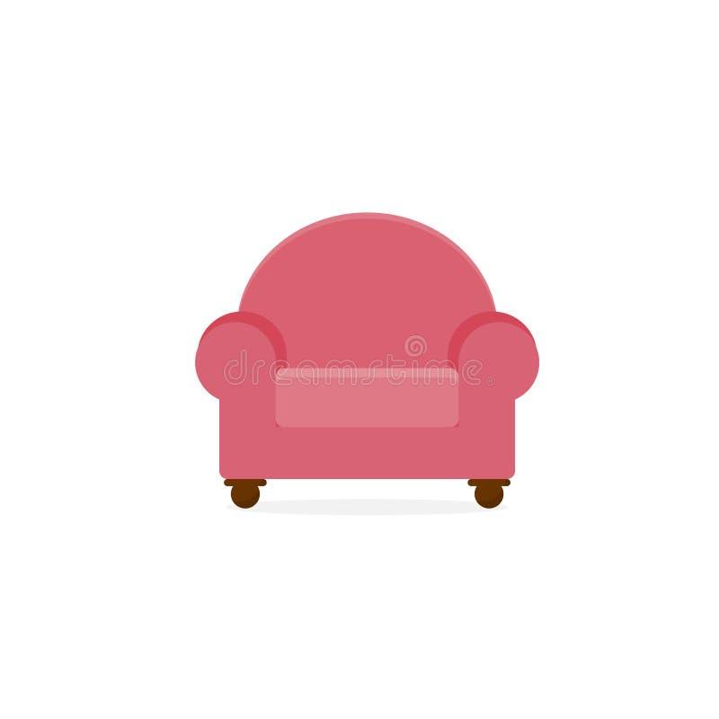 Comodidad rosada Sofa Furniture Illustration de solo Seat ilustración del vector