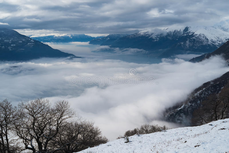Comomeer in de winter royalty-vrije stock fotografie