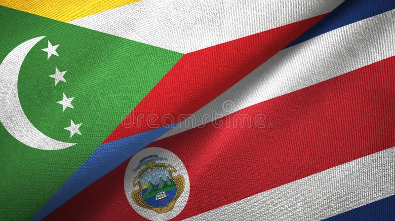 Comoros and Costa Rica two flags textile cloth, fabric texture. Comoros and Costa Rica flags together textile cloth, fabric texture vector illustration