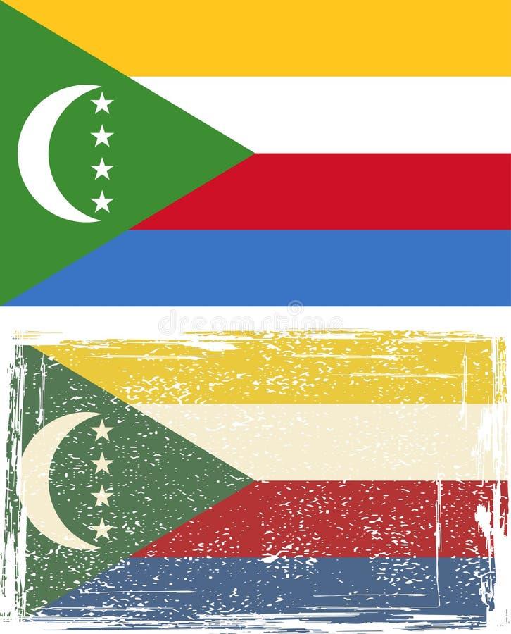 Comoros grungeflagga också vektor för coreldrawillustration royaltyfri illustrationer