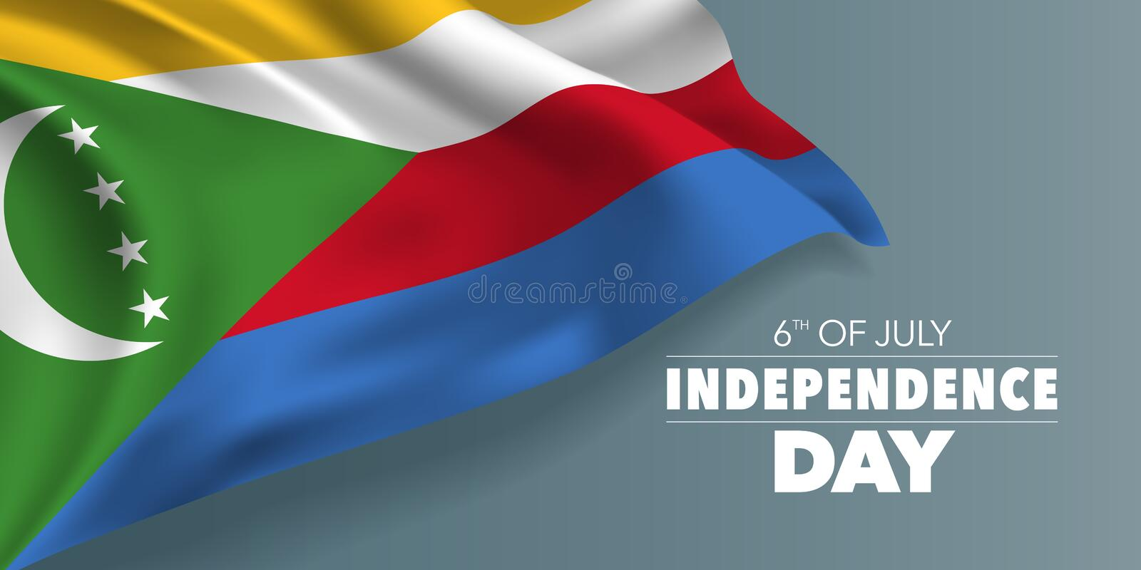 Comoros happy independence day greeting card, banner with template text vector illustration. Comorian memorial holiday 6th of July design element with flag royalty free illustration