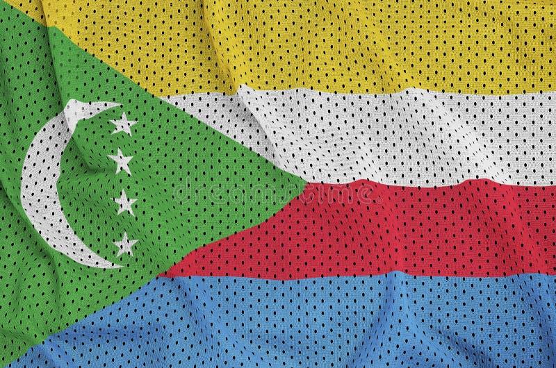 Comoros sjunker utskrivavet på ett tyg för ingrepp för polyesternylonsportswear royaltyfria foton