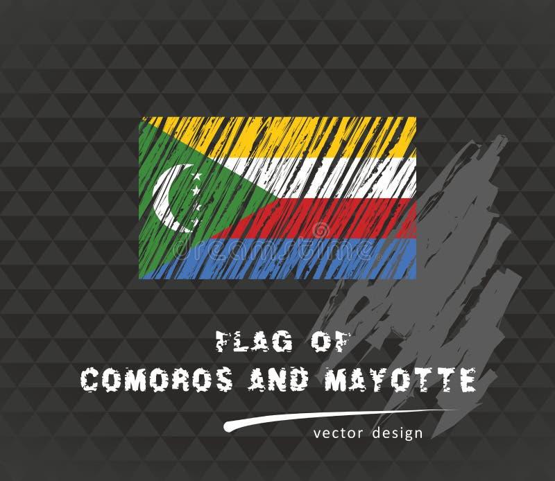 Comoros sjunker, vektorn skissar handen drog illustrationen på mörk grungebakgrund vektor illustrationer