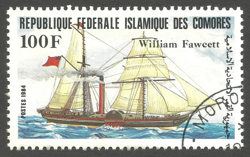 Sailing ships, William Fawcett. Comoros - stamp printed 1984, Color memorable Edition of offset printing with Topic Sailing ships, William Fawcett royalty free stock photography