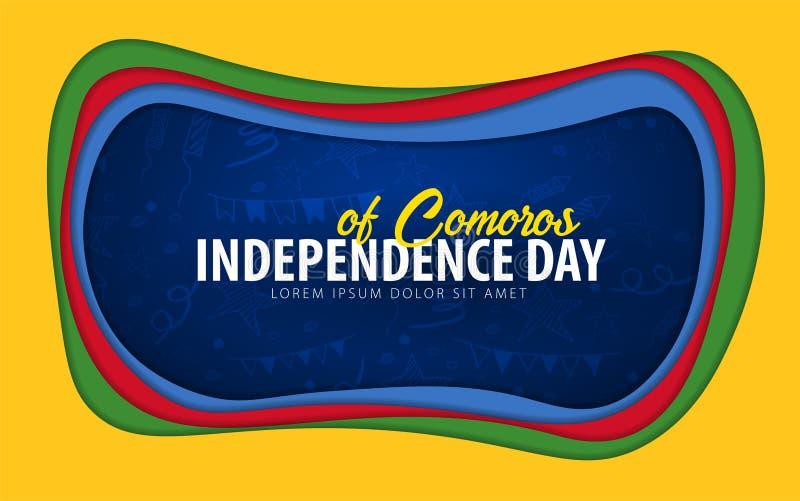 comoros Tarjeta de felicitación del Día de la Independencia estilo del corte del papel ilustración del vector