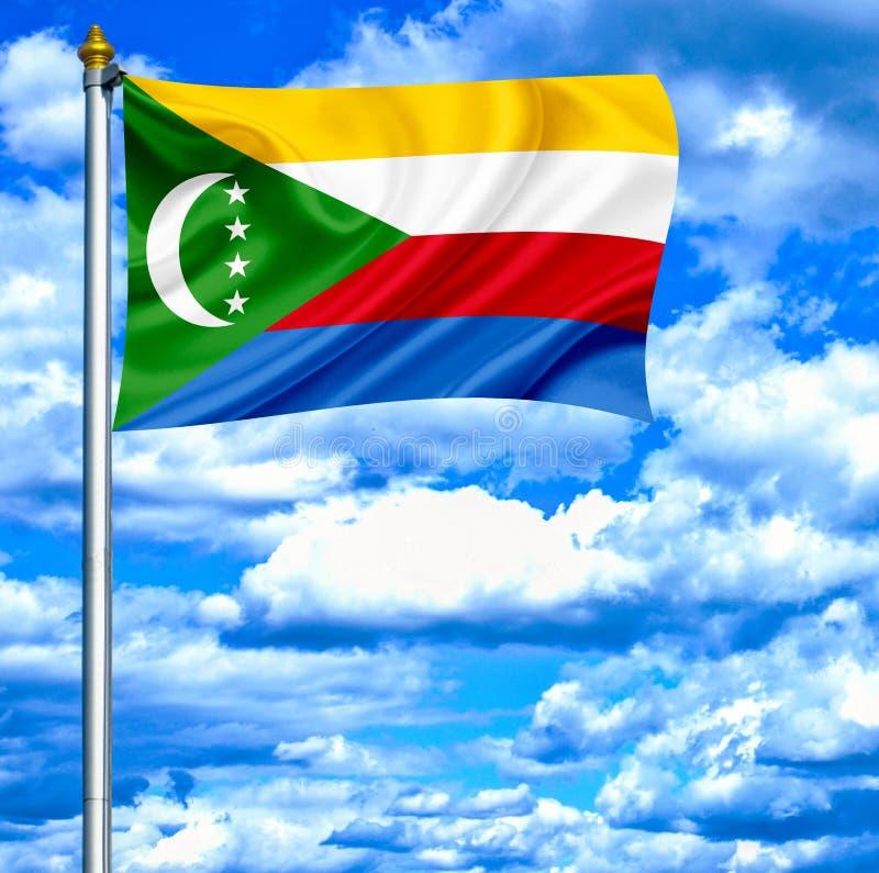 Free Comoros Waving Flag Against Blue Sky Stock Images - 149777744