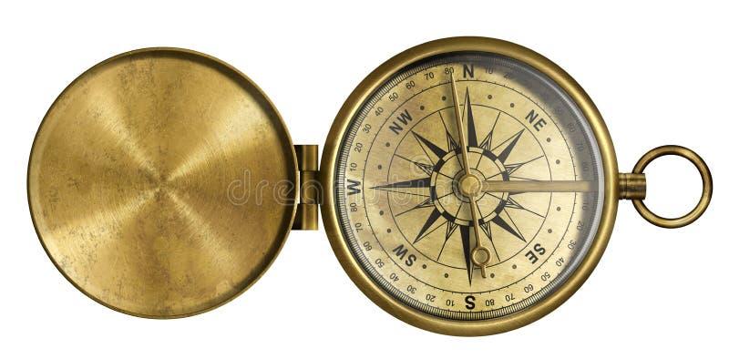 Compás antiguo de oro del bolsillo con la tapa aislada fotos de archivo libres de regalías
