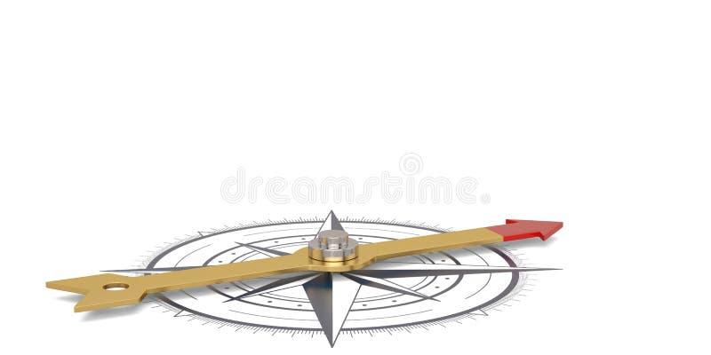 Compás con la aguja del oro aislada en el illustr blanco del fondo 3D ilustración del vector