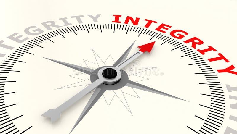 Compás con la flecha que señala a la integridad de la palabra libre illustration