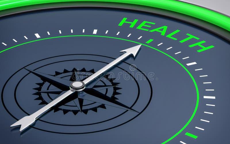 compás 3d Palabra de la salud ilustración del vector
