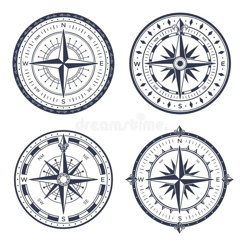 Compás del mar del vintage Este y del oeste retros, flechas del norte y sur Los compases de la navegación con la rosa del viento  ilustración del vector