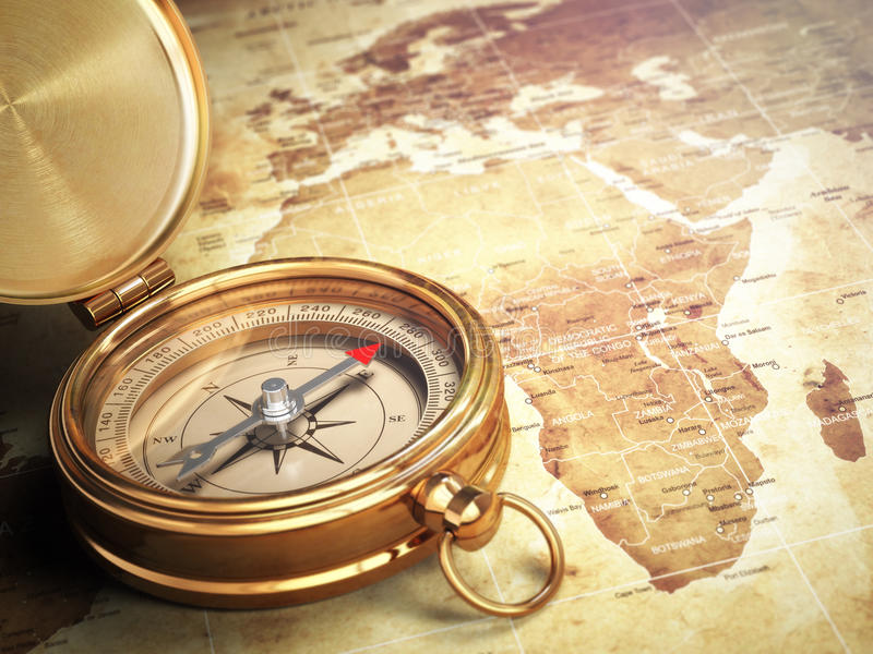 Compás del vintage en el mapa de Viejo Mundo concepto del recorrido ilustración del vector