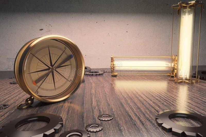 Compás del vintage en una tabla de madera con las lámparas stock de ilustración