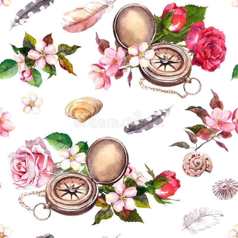 Compás del vintage, flores, conchas marinas, plumas Modelo inconsútil concepto del recorrido watercolor stock de ilustración