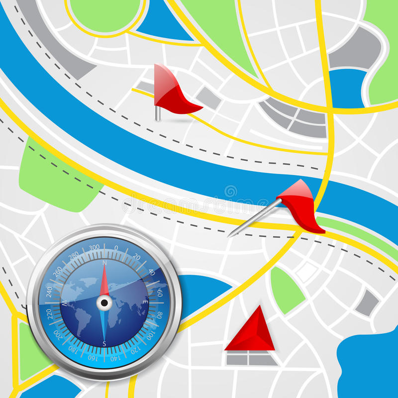Compás en mapa de camino ilustración del vector