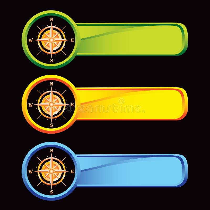 Compás en tabulaciones coloreadas ilustración del vector