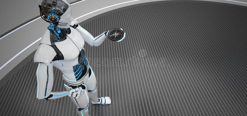 Compás Humanoid del robot ilustración del vector
