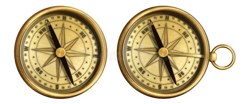 Compás náutico antiguo de cobre amarillo envejecido del bolsillo imágenes de archivo libres de regalías