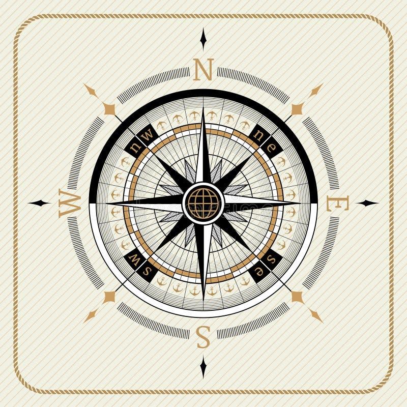 Compás náutico 02 del vintage ilustración del vector