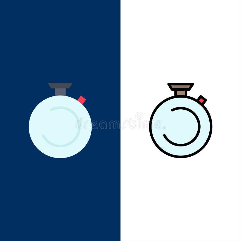 Compás, reloj, cronómetro, contador de tiempo, iconos del reloj El plano y la línea icono llenado fijaron el fondo azul del vecto ilustración del vector