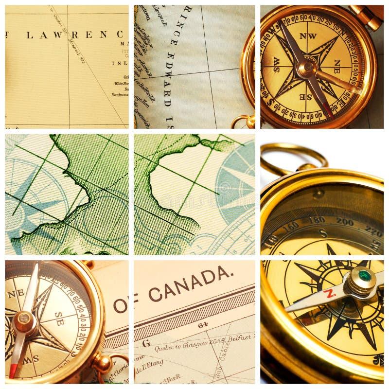 Compás y collage de la correspondencia fotos de archivo