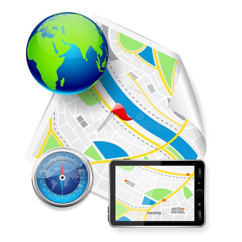 Compás y dispositivo GPS en mapa de camino stock de ilustración