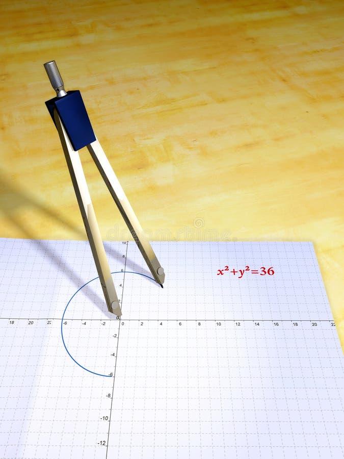 Compás y ecuación stock de ilustración