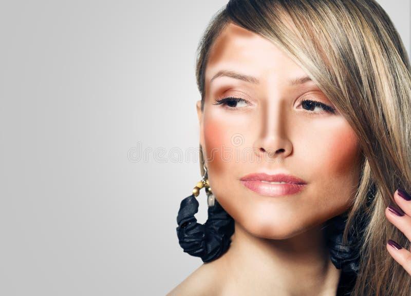 Compõe a cara da mulher Composição do contorno e do destaque fotos de stock
