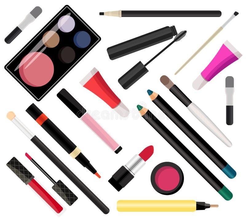 Compõe cosméticos Ilustração do vetor Estilo liso ilustração stock