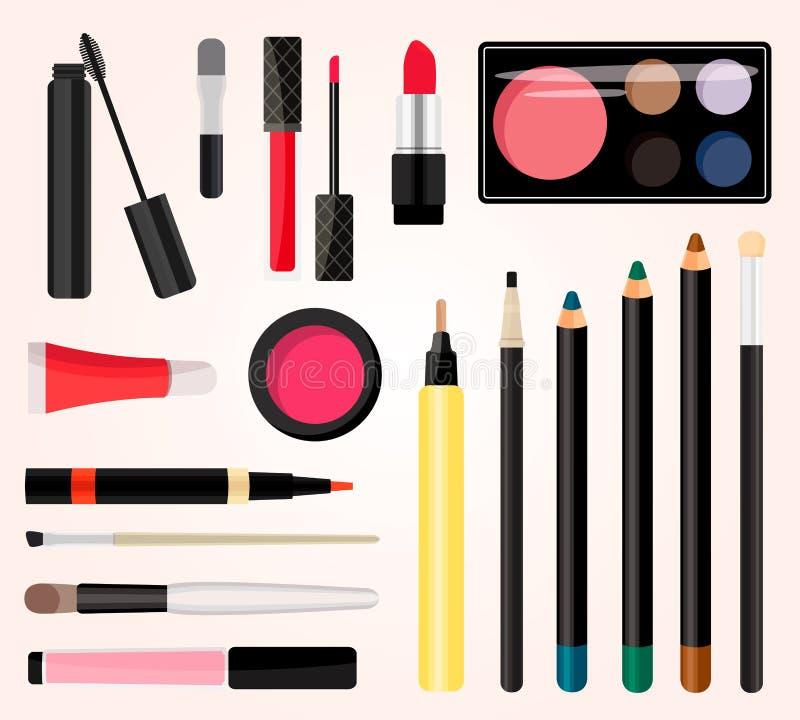 Compõe cosméticos Ilustração do vetor Estilo liso ilustração royalty free